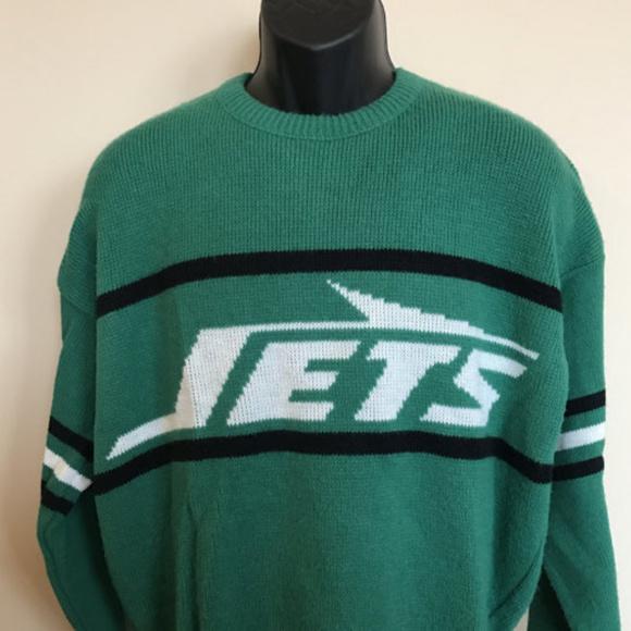 729437e0 80s Cliff Engle NY Jets Sweater New York NFL Vtg